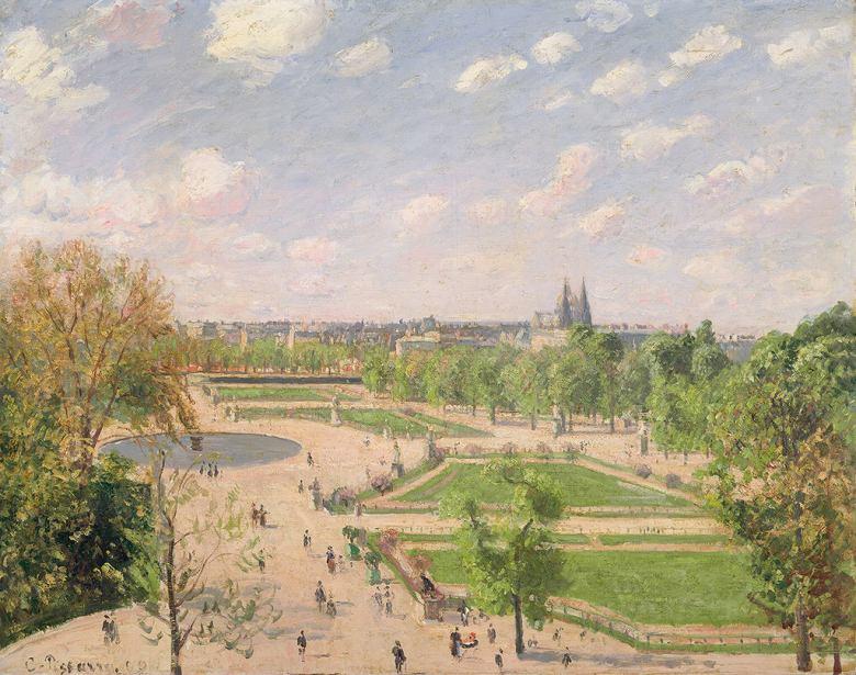 油絵 油彩画 絵画 複製画 カミーユ・ピサロ 春の朝のテュイルリー庭園 F10サイズ F10号 530x455mm すぐに飾れる豪華額縁付きキャンバス
