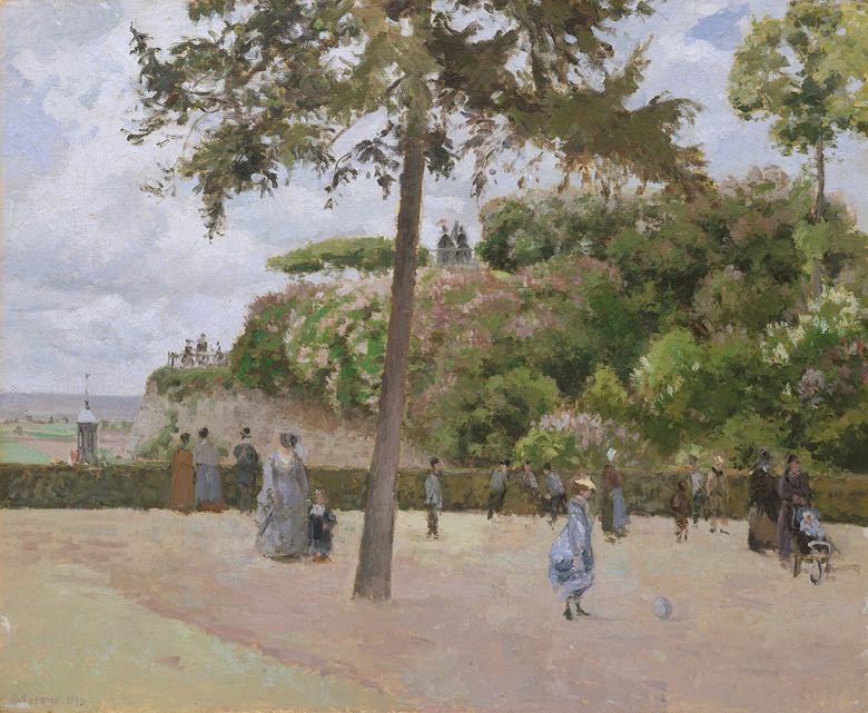 油絵 油彩画 絵画 複製画 カミーユ・ピサロ ポントワーズの公開庭園 F10サイズ F10号 530x455mm すぐに飾れる豪華額縁付きキャンバス