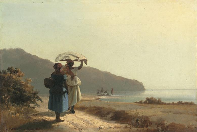 カミーユ・ピサロ 海の傍で雑談する二人の女たち、セント・トーマス島 P30サイズ P30号 910x653mm 条件付き送料無料 絵画 インテリア 額入り 壁掛け複製油絵カミーユ・ピサロ