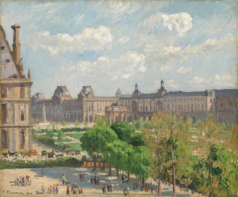 油絵 油彩画 絵画 複製画 カミーユ・ピサロ カルーゼル広場、パリ F10サイズ F10号 530x455mm すぐに飾れる豪華額縁付きキャンバス