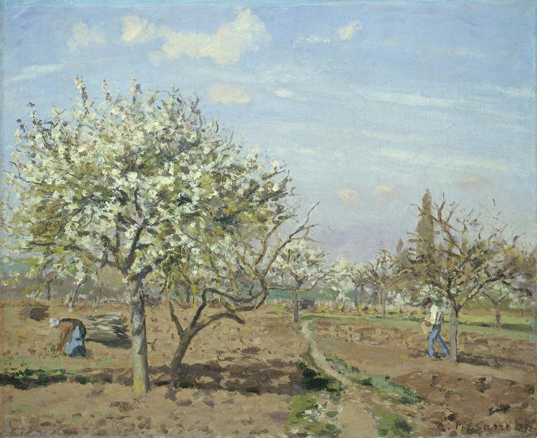 油絵 油彩画 絵画 複製画 カミーユ・ピサロ 花咲く果樹園、ルーヴシエンヌ F10サイズ F10号 530x455mm すぐに飾れる豪華額縁付きキャンバス