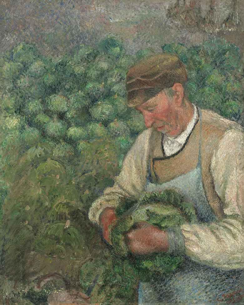 油絵 油彩画 絵画 複製画 カミーユ・ピサロ 庭師-キャベツを持った年老いた農民 F10サイズ F10号 530x455mm すぐに飾れる豪華額縁付きキャンバス