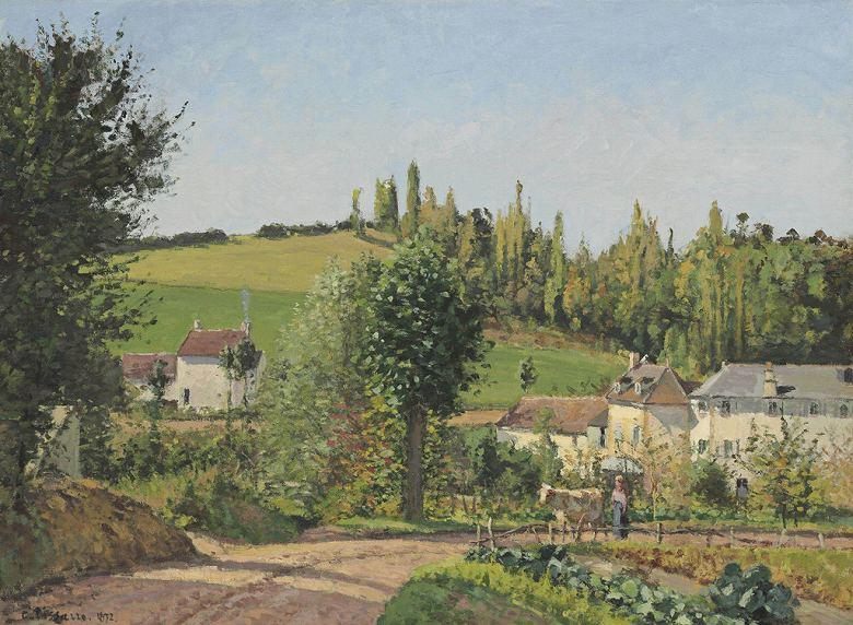 油絵 油彩画 絵画 複製画 カミーユ・ピサロ エルミタージュの小道、ポントワーズ P10サイズ P10号 530x410mm すぐに飾れる豪華額縁付きキャンバス