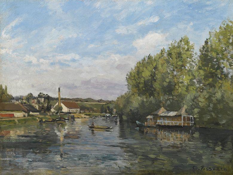 油絵 油彩画 絵画 複製画 カミーユ・ピサロ ポール・マルリーのセーヌ川 P10サイズ P10号 530x410mm すぐに飾れる豪華額縁付きキャンバス