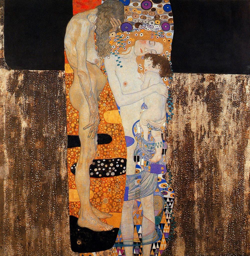 【送料無料】絵画 油彩画複製油絵複製画/グスタフ・クリムト 人生の三段階(女の生の三段階) F12サイズ 762x656mm 【すぐに飾れる豪華額縁付 キャンバス】