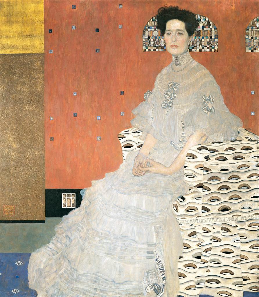 【送料無料】絵画 油彩画複製油絵複製画/グスタフ・クリムト フリッツァ・リードラーの肖像 F12サイズ 762x656mm 【すぐに飾れる豪華額縁付 キャンバス】