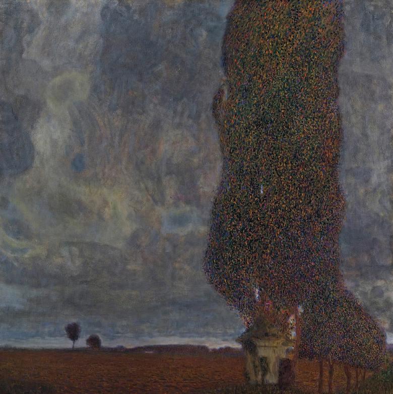 絵画 インテリア 額入り 壁掛け複製油絵グスタフ・クリムト 雷雨の接近(大きなポプラII) F20サイズ F20号 727x606mm 絵画 インテリア 額入り 壁掛け 油絵