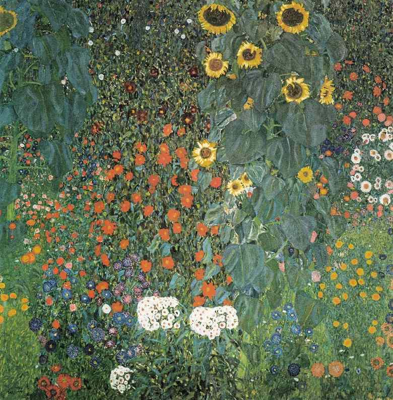 油絵 グスタフ・クリムト ひまわりの園 F12サイズ F12号 606x500mm 油彩画 絵画 複製画 選べる額縁 選べるサイズ