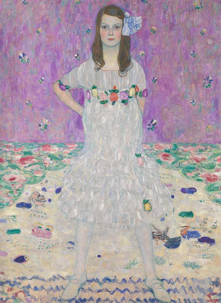 【送料無料】絵画 油彩画複製油絵複製画/グスタフ・クリムト メーダ・プリマヴェージの肖像 P8サイズ P8号 455x333mm すぐに飾れる豪華額縁付きキャンバス