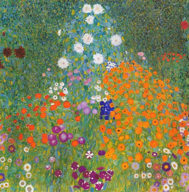 油絵 油彩画 絵画 複製画 グスタフ・クリムト 農家の庭 F10サイズ F10号 530x455mm すぐに飾れる豪華額縁付きキャンバス