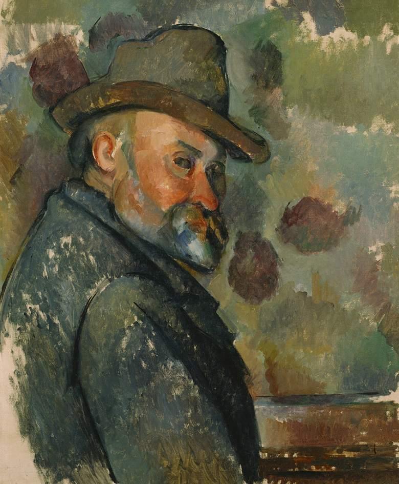 絵画 インテリア 額入り 壁掛け複製油絵 ポール・セザンヌ 帽子をかぶった自画像 F20サイズ F20号 727x606mm 絵画 インテリア 額入り 壁掛け 油絵