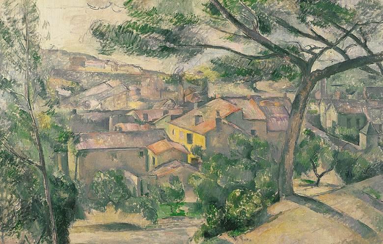 油絵 油彩画 絵画 複製画 ポール・セザンヌ エスタックの朝の風景 M10サイズ M10号 530x333mm すぐに飾れる豪華額縁付きキャンバス