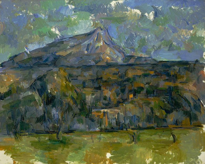油絵 油彩画 絵画 複製画 ポール・セザンヌ サント=ヴィクトワール山 F10サイズ F10号 530x455mm すぐに飾れる豪華額縁付きキャンバス