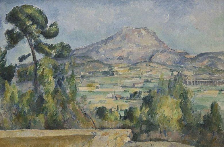 油絵 油彩画 絵画 複製画 ポール・セザンヌ サント=ヴィクトワール山 M10サイズ M10号 530x333mm すぐに飾れる豪華額縁付きキャンバス