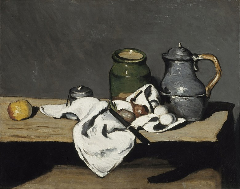 【送料無料】絵画 油彩画複製油絵複製画/ ポール・セザンヌ ケトルのある静物 F8サイズ F8号 455x380mm すぐに飾れる豪華額縁付きキャンバス