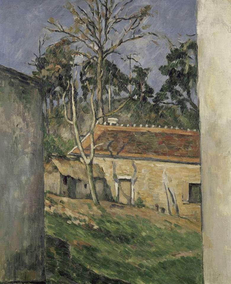 絵画 インテリア 額入り 壁掛け複製油絵 ポール・セザンヌ オーヴェルの農場の庭 F15サイズ F15号 652x530mm 油彩画 複製画 選べる額縁 選べるサイズ