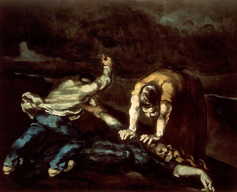 油絵 油彩画 絵画 複製画 ポール・セザンヌ 殺人 F10サイズ F10号 530x455mm すぐに飾れる豪華額縁付きキャンバス