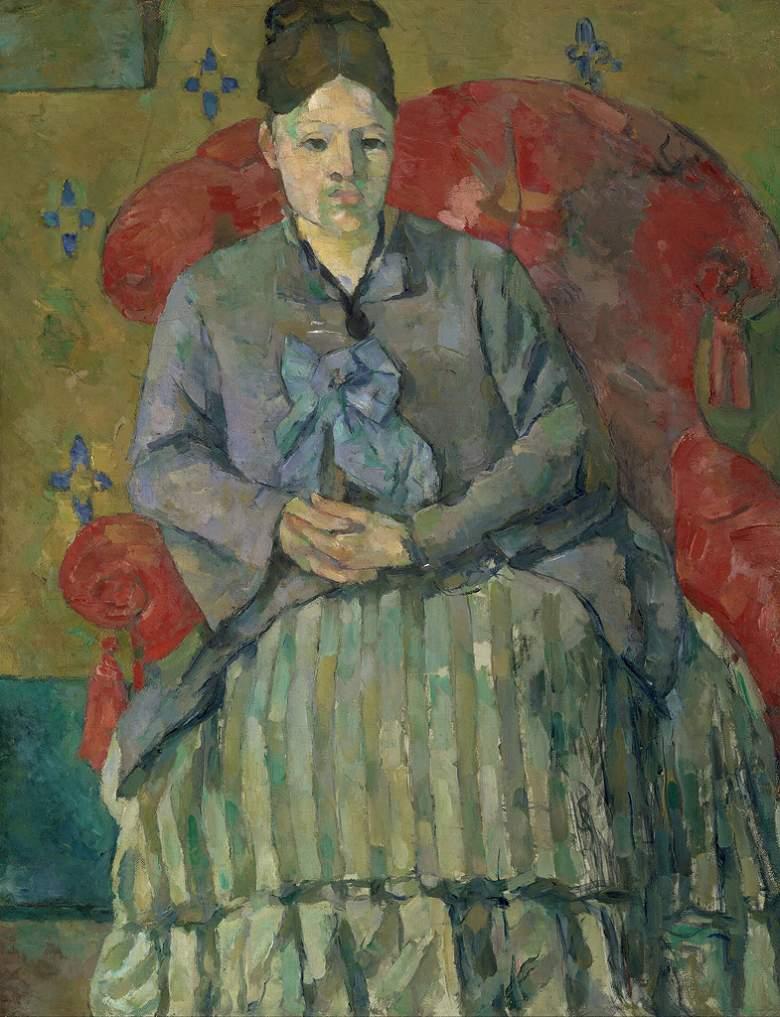 絵画 インテリア 額入り 壁掛け複製油絵 ポール・セザンヌ 赤いひじ掛け椅子のセザンヌ夫人 F15サイズ F15号 652x530mm 油彩画 複製画 選べる額縁 選べるサイズ