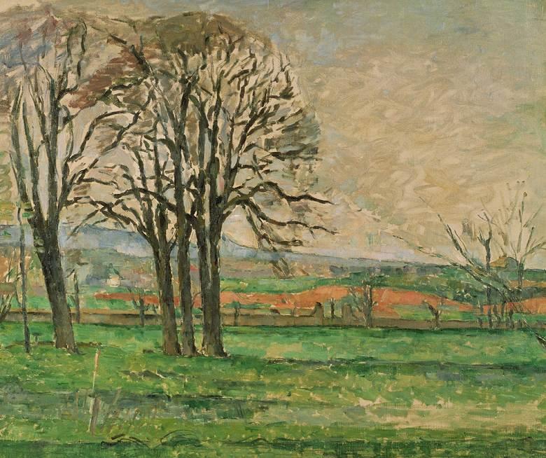 油絵 油彩画 絵画 複製画 ポール・セザンヌ 葉を落としたジャ・ド・ブッファンの木々 F10サイズ F10号 530x455mm すぐに飾れる豪華額縁付きキャンバス