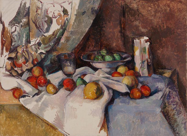 絵画 インテリア 額入り 壁掛け複製油絵 ポール・セザンヌ りんごのある静物 P20サイズ P20号 727x530mm 絵画 インテリア 額入り 壁掛け 油絵