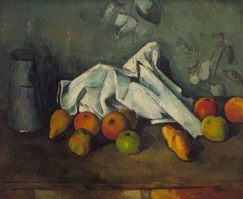 油絵 油彩画 絵画 複製画 ポール・セザンヌ ミルク缶とりんご F10サイズ F10号 530x455mm すぐに飾れる豪華額縁付きキャンバス
