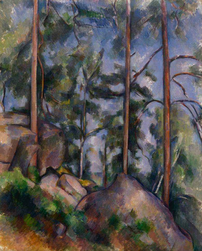 絵画 インテリア 額入り 壁掛け複製油絵 ポール・セザンヌ 松と岩 F20サイズ F20号 727x606mm 絵画 インテリア 額入り 壁掛け 油絵