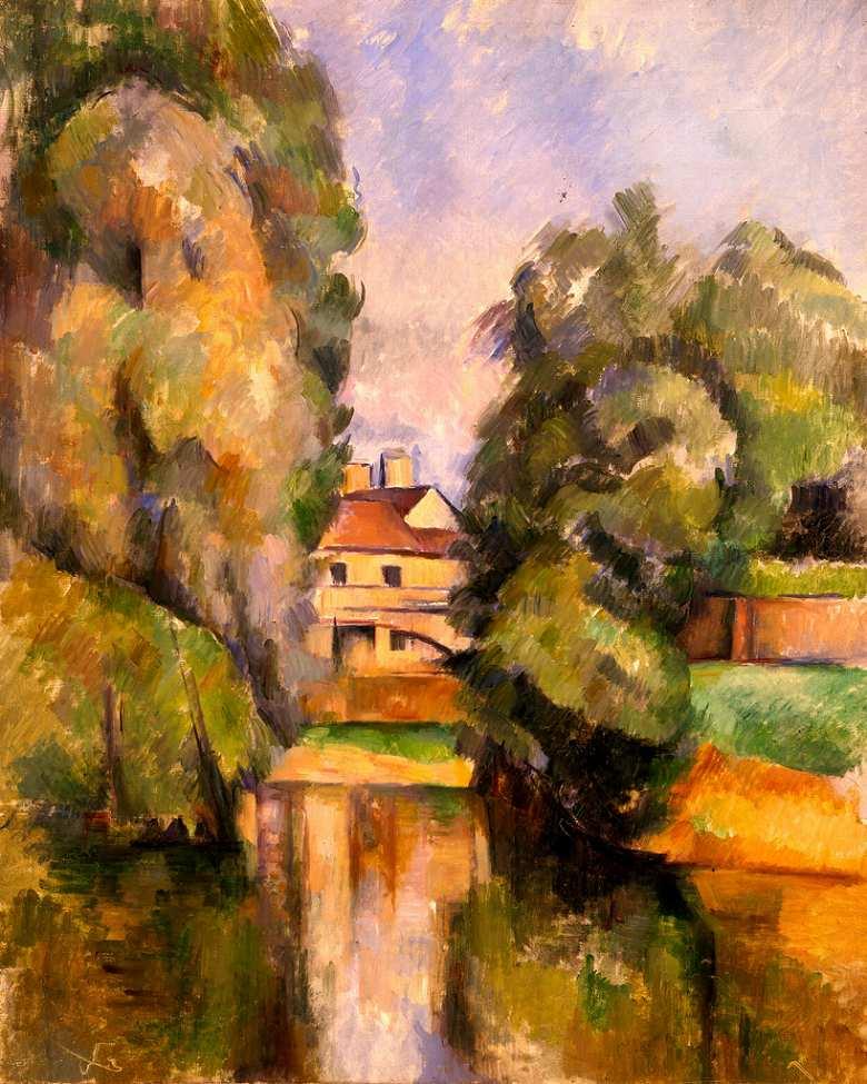 油絵 油彩画 絵画 複製画 ポール・セザンヌ 川の傍の田舎家 F10サイズ F10号 530x455mm すぐに飾れる豪華額縁付きキャンバス