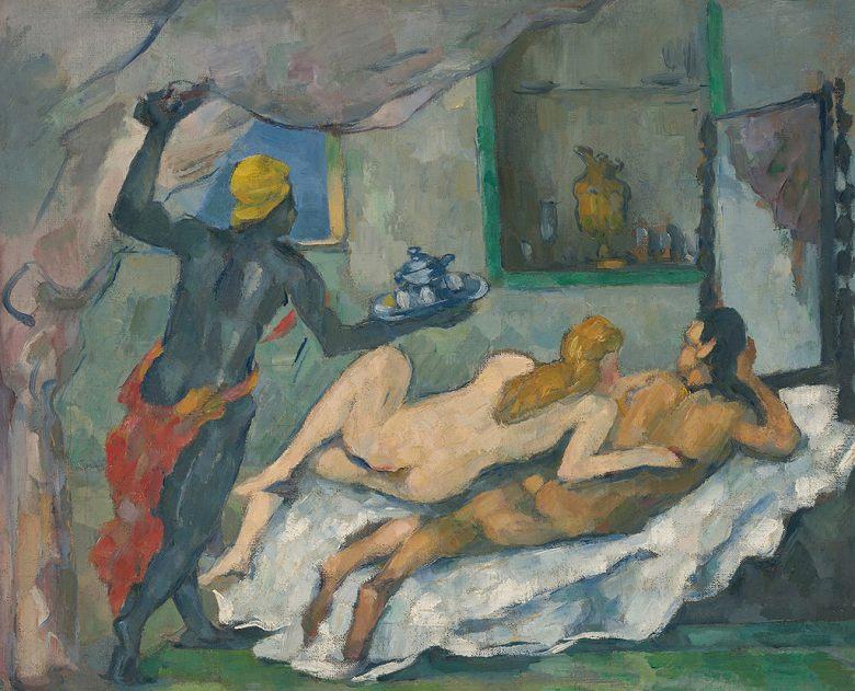 油絵 油彩画 絵画 複製画 ポール・セザンヌ ナポリの午後 F10サイズ F10号 530x455mm すぐに飾れる豪華額縁付きキャンバス