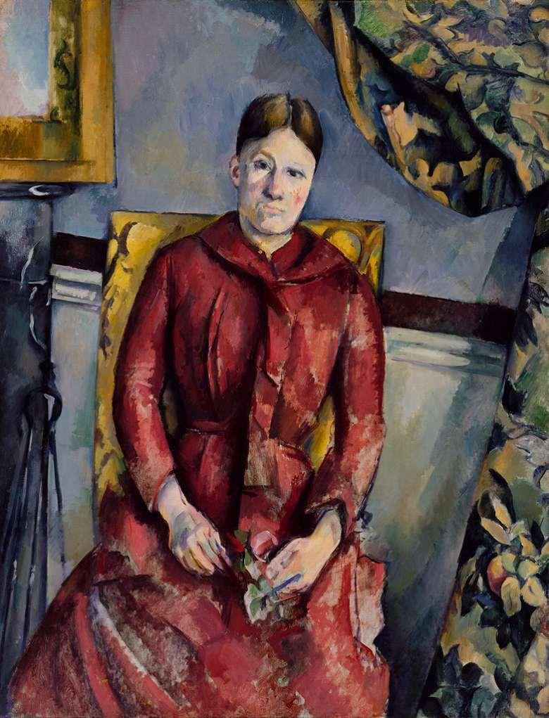 油絵 油彩画 絵画 複製画 ポール・セザンヌ 赤いドレスを着たセザンヌ夫人(オルタンス・フィケ) F10サイズ F10号 530x455mm すぐに飾れる豪華額縁付きキャンバス