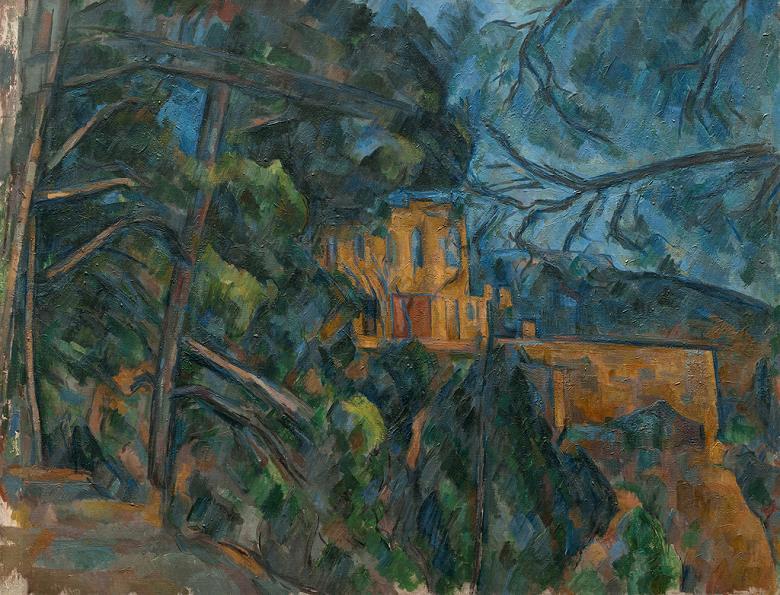 油絵 油彩画 絵画 複製画 ポール・セザンヌ シャトー・ノワール F10サイズ F10号 530x455mm すぐに飾れる豪華額縁付きキャンバス