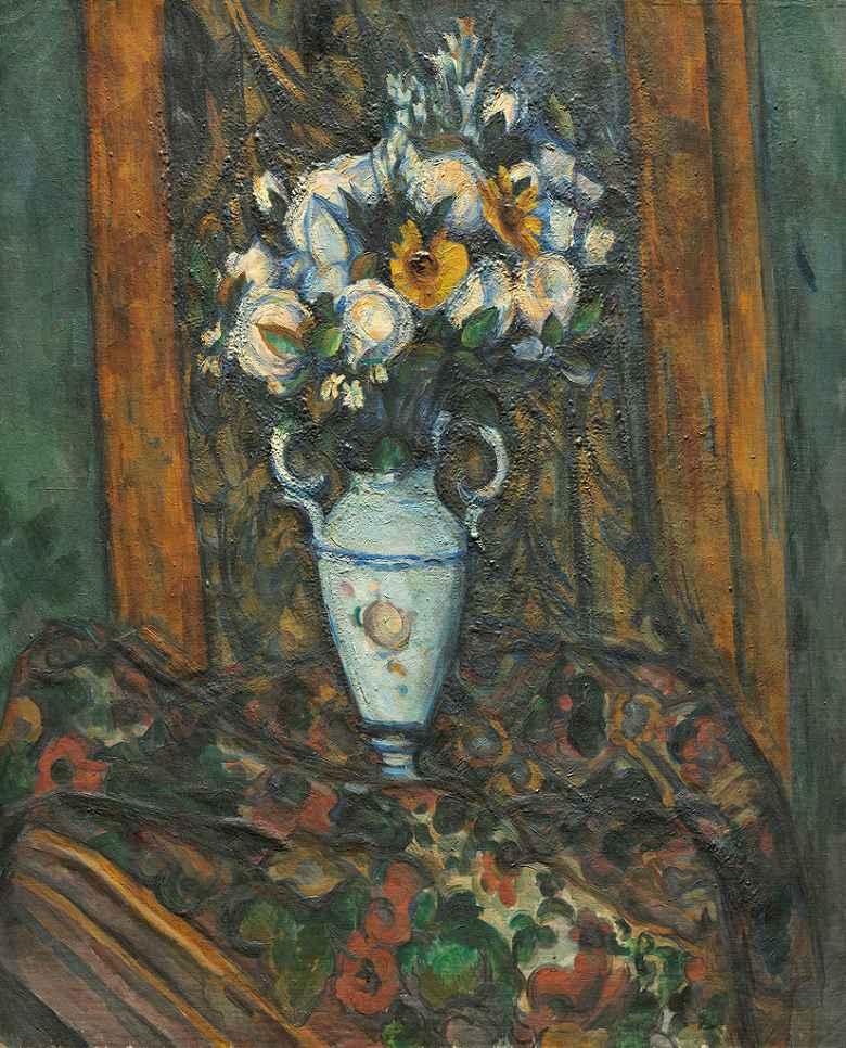 【送料無料】絵画 油彩画複製油絵複製画/ ポール・セザンヌ 花瓶の花 F8サイズ F8号 455x380mm すぐに飾れる豪華額縁付きキャンバス