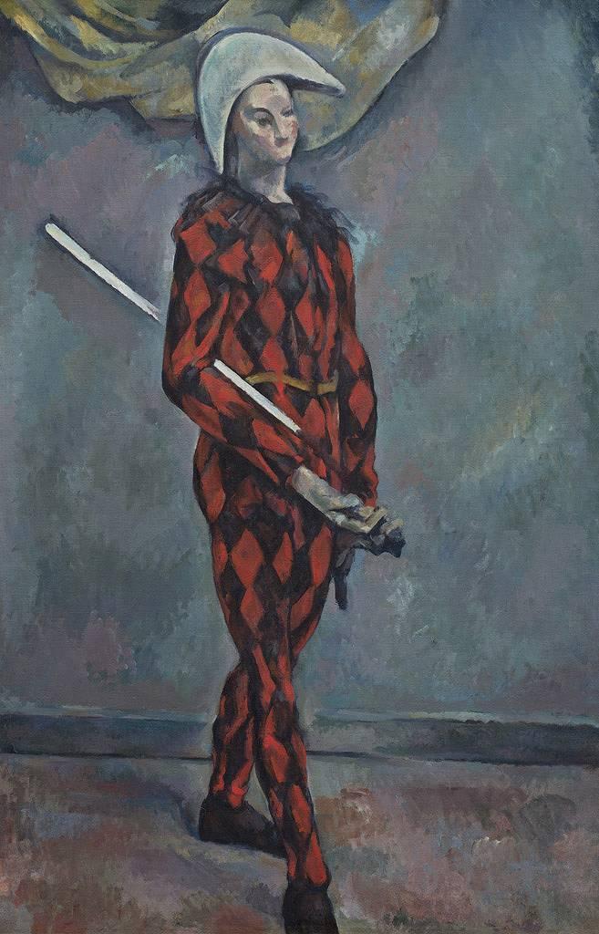 【送料無料】絵画 油彩画複製油絵複製画/ ポール・セザンヌ アルレッキーノ M8サイズ M8号 455x273mm すぐに飾れる豪華額縁付きキャンバス