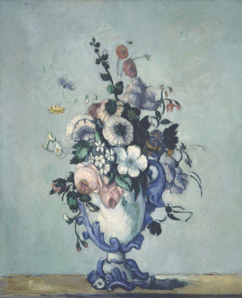 油絵 油彩画 絵画 複製画 ポール・セザンヌ ロココ調の花瓶の花 F10サイズ F10号 530x455mm すぐに飾れる豪華額縁付きキャンバス