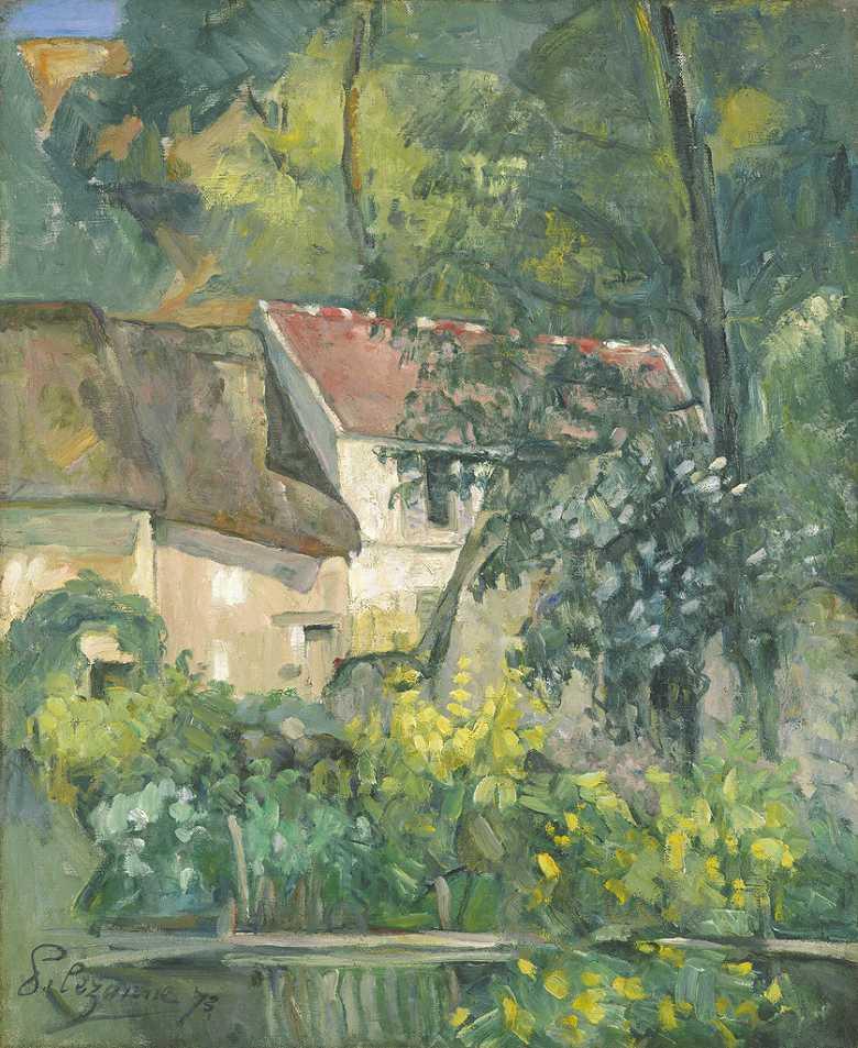 油絵 油彩画 絵画 複製画 ポール・セザンヌ ペール・ラクロワの家 F10サイズ F10号 530x455mm すぐに飾れる豪華額縁付きキャンバス