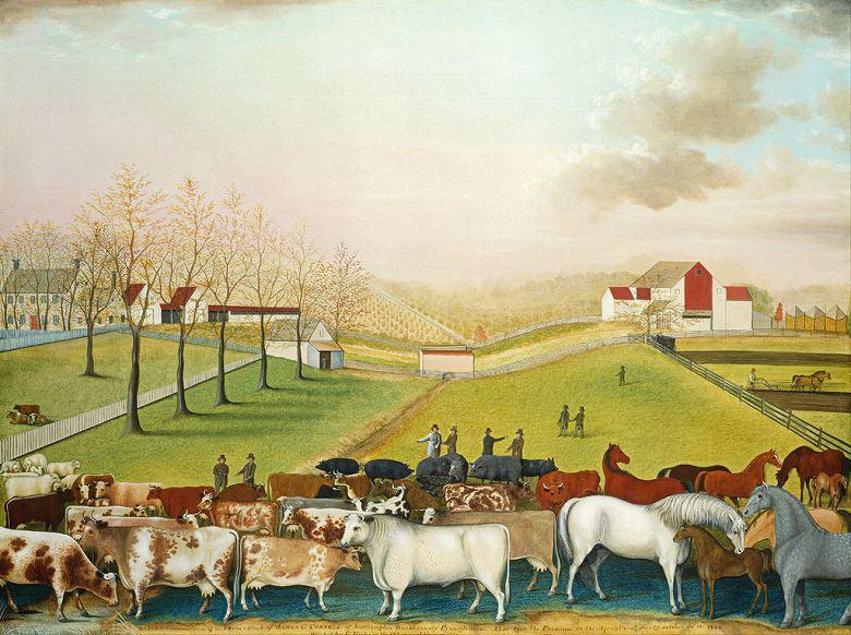 油絵 油彩画 絵画 複製画 エドワード・ヒックス コーネル農場 P10サイズ P10号 530x410mm すぐに飾れる豪華額縁付きキャンバス