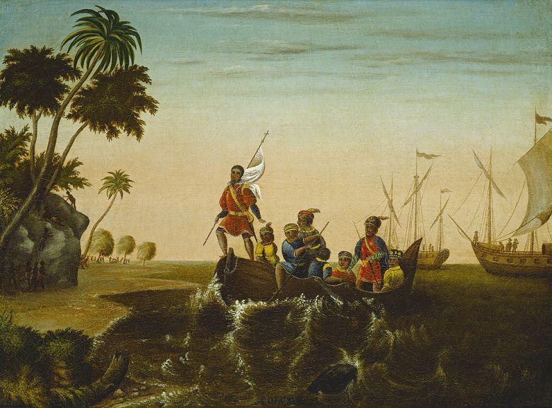 油絵 油彩画 絵画 複製画 エドワード・ヒックス コロンブスの上陸 P10サイズ P10号 530x410mm すぐに飾れる豪華額縁付きキャンバス