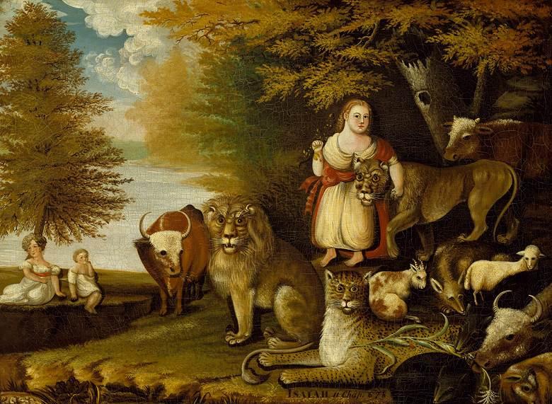 油絵 エドワード・ヒックス 平和な王国 P12サイズ P12号 606x455mm 油彩画 絵画 複製画 選べる額縁 選べるサイズ