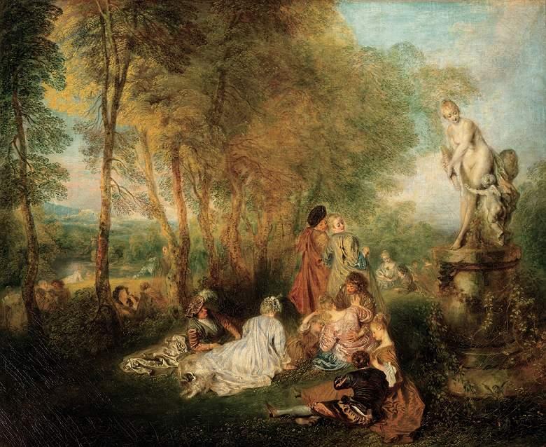 油絵 油彩画 絵画 複製画 アントワーヌ・ヴァトー 愛の宴 F10サイズ F10号 530x455mm すぐに飾れる豪華額縁付きキャンバス