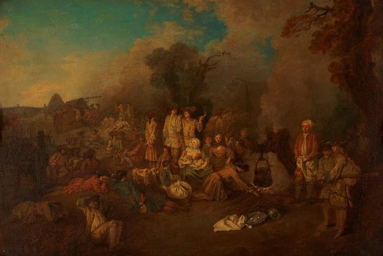 油絵 油彩画 絵画 複製画 アントワーヌ・ヴァトー 野営 M10サイズ M10号 530x333mm すぐに飾れる豪華額縁付きキャンバス