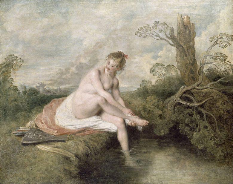 油絵 油彩画 絵画 複製画 アントワーヌ・ヴァトー 水浴するディアナ F10サイズ F10号 530x455mm すぐに飾れる豪華額縁付きキャンバス