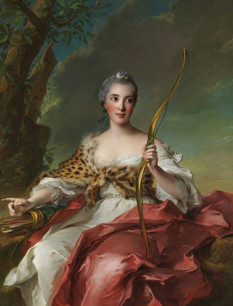 油絵 油彩画 絵画 複製画 ジャン=マルク・ナティエ ディアナに扮するメゾン・ルージュ夫人 F10サイズ F10号 530x455mm すぐに飾れる豪華額縁付きキャンバス