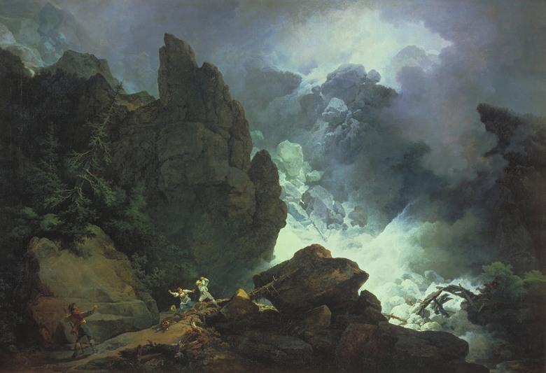 油絵 油彩画 絵画 複製画 フィリップ・ジェイムズ・ド・ラウザーバーグ アルプスの雪崩 P10サイズ P10号 530x410mm すぐに飾れる豪華額縁付きキャンバス