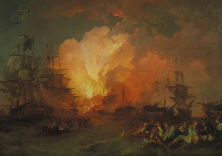 絵画 インテリア 額入り 壁掛け複製油絵フィリップ・ジェイムズ・ド・ラウザーバーグ ナイルの海戦 P20サイズ P20号 727x530mm 絵画 インテリア 額入り 壁掛け 油絵