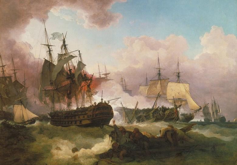 フィリップ・ジェイムズ・ド・ラウザーバーグ キャンパーダウンの海戦 P30サイズ P30号 910x653mm 条件付き送料無料 絵画 インテリア 額入り 壁掛け複製油絵フィリップ・ジェイムズ・ド・ラウザーバーグ