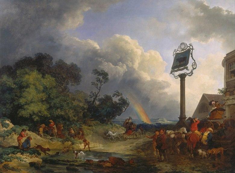 油絵 油彩画 絵画 複製画 フィリップ・ジェイムズ・ド・ラウザーバーグ 虹 P10サイズ P10号 530x410mm すぐに飾れる豪華額縁付きキャンバス