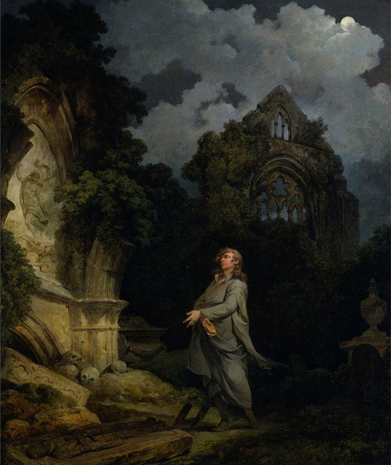 油絵 油彩画 絵画 複製画 フィリップ・ジェイムズ・ド・ラウザーバーグ 月明かりの墓地の訪問客 F10サイズ F10号 530x455mm すぐに飾れる豪華額縁付きキャンバス