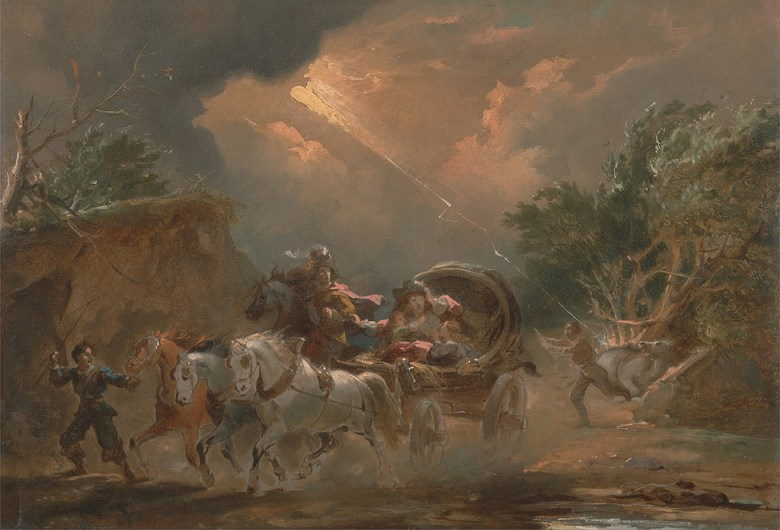 絵画 インテリア 額入り 壁掛け複製油絵フィリップ・ジェイムズ・ド・ラウザーバーグ 雷雨の中の馬車 P15サイズ P15号 652x500mm 油彩画 複製画 選べる額縁 選べるサイズ