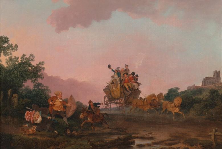 油絵 油彩画 絵画 複製画 フィリップ・ジェイムズ・ド・ラウザーバーグ 馬車で酒盛りする人々 P10サイズ P10号 530x410mm すぐに飾れる豪華額縁付きキャンバス
