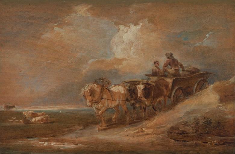 フィリップ・ジェイムズ・ド・ラウザーバーグ 馬と牛の荷車 M30サイズ M30号 910x606mm 条件付き送料無料 絵画 インテリア 額入り 壁掛け複製油絵フィリップ・ジェイムズ・ド・ラウザーバーグ