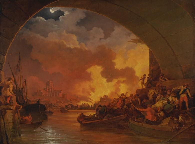 絵画 インテリア 額入り 壁掛け複製油絵フィリップ・ジェイムズ・ド・ラウザーバーグ ロンドン大火 P15サイズ P15号 652x500mm 油彩画 複製画 選べる額縁 選べるサイズ